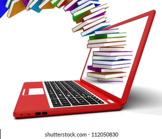Stack Of Books Flying From Computer Showing Online Learning. Shows Technology Used For Study Or Research In A Virtual World.