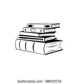 Stack of books hand drawn . Sketch isolated objects. Doodle illustration library