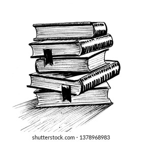 Stack of books. Ink black and white drawing
