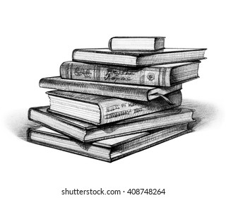 Stack of Books Isolated on White. Hand Drawn Illustration. Pencil Drawing.