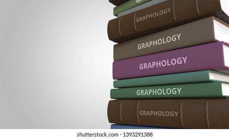 Stack of books on GRAPHOLOGY, 3D rendering