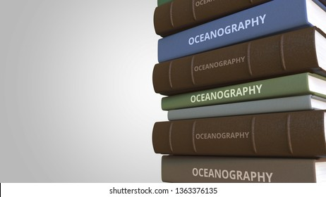 Stack of books on OCEANOGRAPHY, 3D rendering