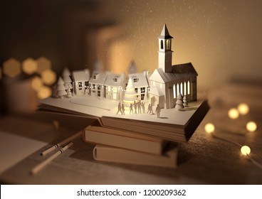 A stack of books with a Pop-Up Christmas book opened revealing A festive christmas town. 3D illustration.