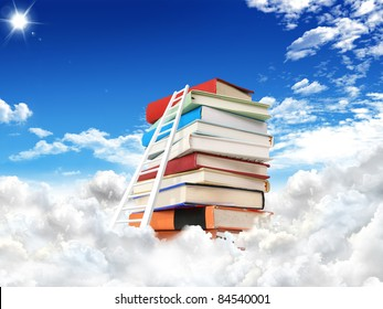 Stack of books with stair. education concept