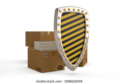Stack of boxes with shield isolated on whiite background.3D illustration.