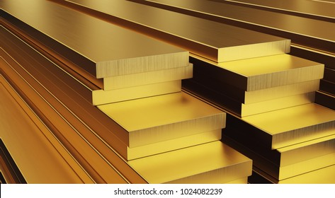 Stack of brass rods. Rolled metal products. 3D illustration