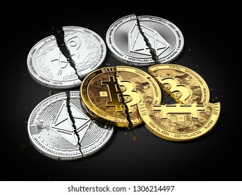 Stack of broken or cracked Bitcoin and altcoins coins laying on black background. Bitcoin crash concept. 3D rendering