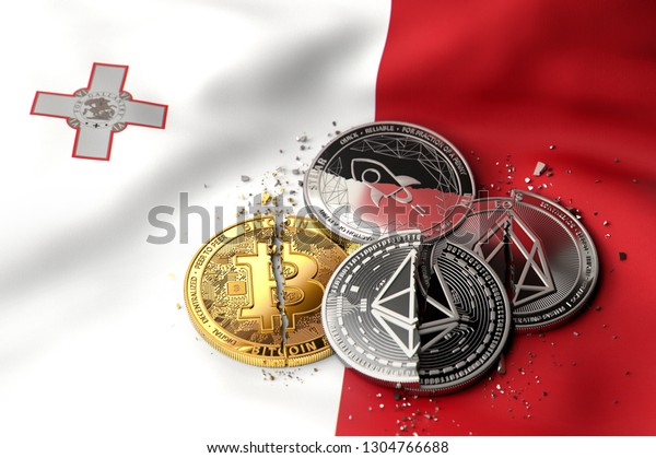Stack of broken or cracked cryptocurrency coins on Maltese flag. Situation of Cryptocurrencies in Malta concept. 3D Rendering
