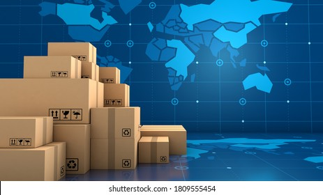 Stack of brown box packaging for goods, import export shipping business worldwide, 3d rendering
