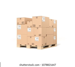 Stack of brown cardboard boxes mock-up on pallet isolated on white background. 3D rendering image.