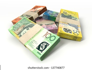 A stack of bundled australian dollar notes on an isolated background