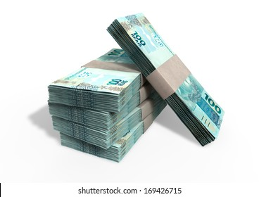 A stack of bundled brazilian real banknotes on an isolated background