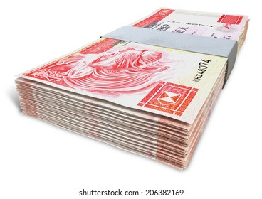 A stack of bundled  hong kong dollar banknotes on an isolated background