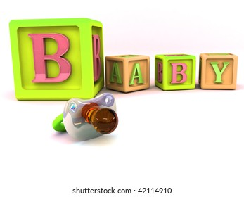 A stack of children alphabet blocks spelling the word baby and pacifier isolated on a white background