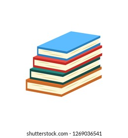 Stack of closed books with colorful covers and paper pages lying isolated on white background - symbol of reading for studying or literary leisure in flat illustration.