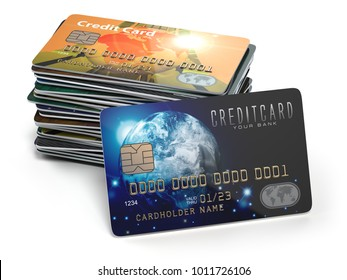 Stack of colored credit cards isolated on white background, 3d illustration. Elements of this image furnished by NASA