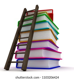 Stack of colorful books. 3d image renderer