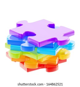 Stack of a colorful puzzle pieces isolated over white background