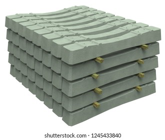 Stack of concrete sleepers isolated on white. 3D rendering