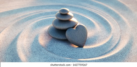 Stack of dark stones with heart in sand waves - 3d illustration