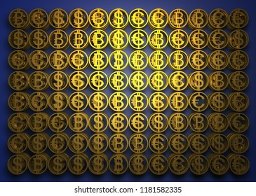 Stack of different coins contains of bitcoin, dollar and euro. Success financial signs. High quality 3D render