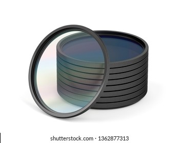Stack with different photographic filters on white background, 3D illustration