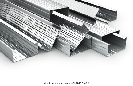 Stack of drywall metal profiles. 3d illustration