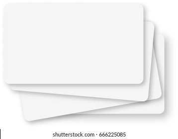 Stack of empty white index-cards background with rounded corners.