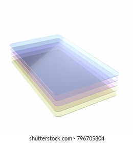Stack of five colored glass or plastic or polymer thin sheets with rounded corners. Layers of transparent dielectric material. 3d rendering, digital illustration