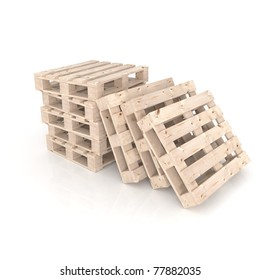 Stack of five New wooden pallets and three pallets beside,  on white