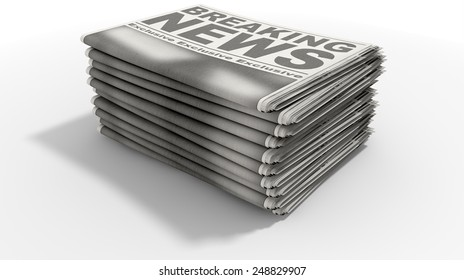 A stack of folded stacked newspapers hot off the press with a generic headline that reads breaking news on the front page on an isolated white background