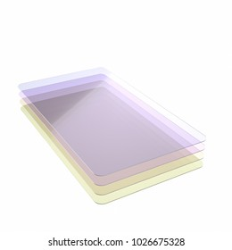 Stack of four colored glass or plastic or polymer thin sheets with rounded corners. Layers of transparent dielectric material. 3d rendering, digital illustration