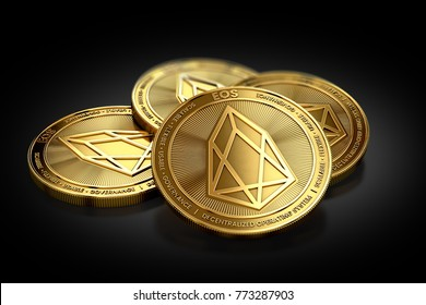 Stack of four golden EOS coins laying on the black background. 3D rendering