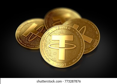 Stack of four golden Tether (USDT) coins laying on the black background. 3D rendering