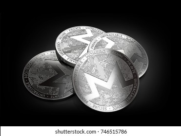 Stack of four silver Monero coins laying on the black background. 3D rendering