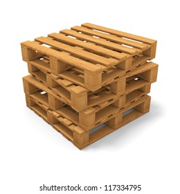 Stack of four wooden pallets. Isolated on white.