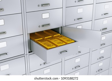 Stack of Gold Bars in Opened Bank Safe Deposit Box extreme closeup. 3d Rendering
