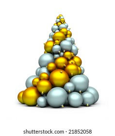 a stack of gold and silver bomblets; 3d rendering