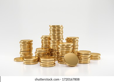Stack of golden coins on white background with earning profit concept. Gold coins or currency of business. 3D rendering.
