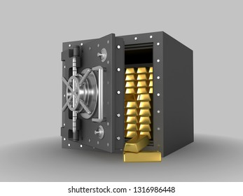 Stack of golden ingots in bank vault. . 3D rendering illustration