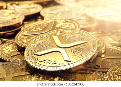 Stack of golden Ripple XRP coins in blurry closeup. Bright sun flare as a sign of growth. 3D rendering