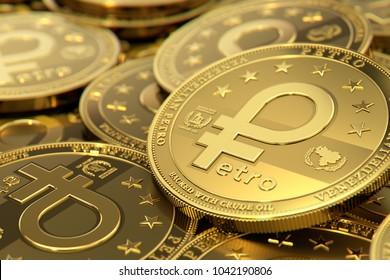 Stack of golden Venezuelan PETRO cryptocurrency concept coins. 3D rendering