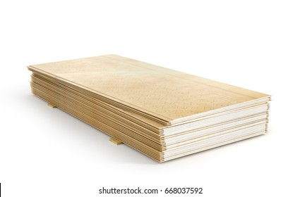 Stack of gypsum boards isolation on a white background. 3d illustration