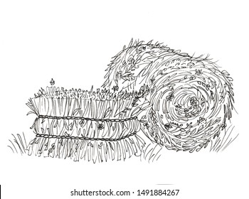 a stack of hay in white and black color on a white background