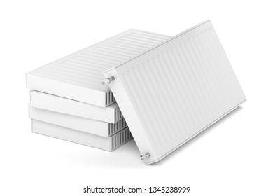 Stack with heating radiators on white background, 3D illustration