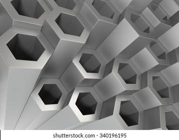 Stack of Hexagon Metal Tubing. 3D Rendering...