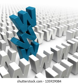 stack of letter w forming a www tower in the middle of a crowd of letters, image suitable for internet strategy