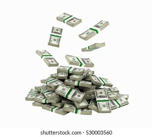 Stack of money american dollar bills falling into a pile without shadow 3d