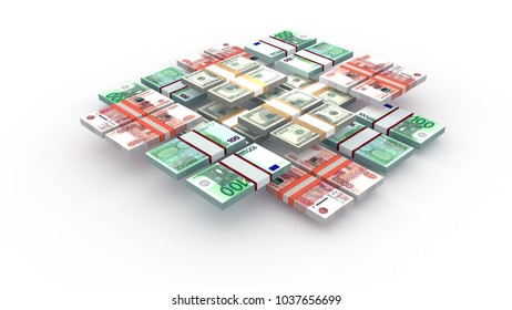 stack of money rubles euro dollar
