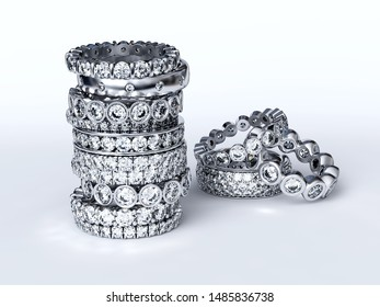 Stack of multiple eternity diamond rings, various settings, on white background. 3D illustration